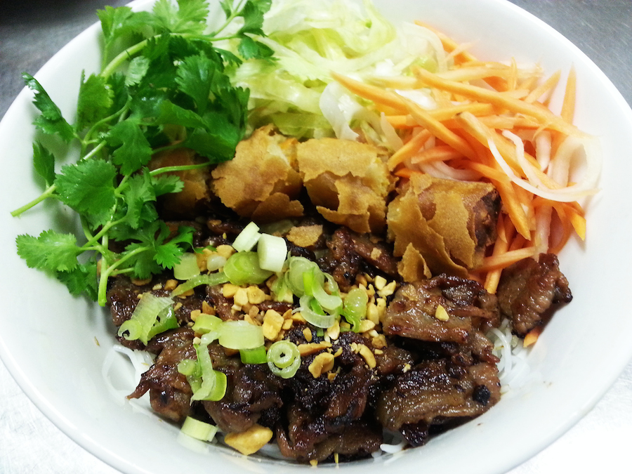 Vermicelli with Grilled Pork and Vietnamese Egg roll