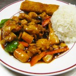 Hot and Spicy Chicken with Steamed rice and Eggroll (Lunch portion)